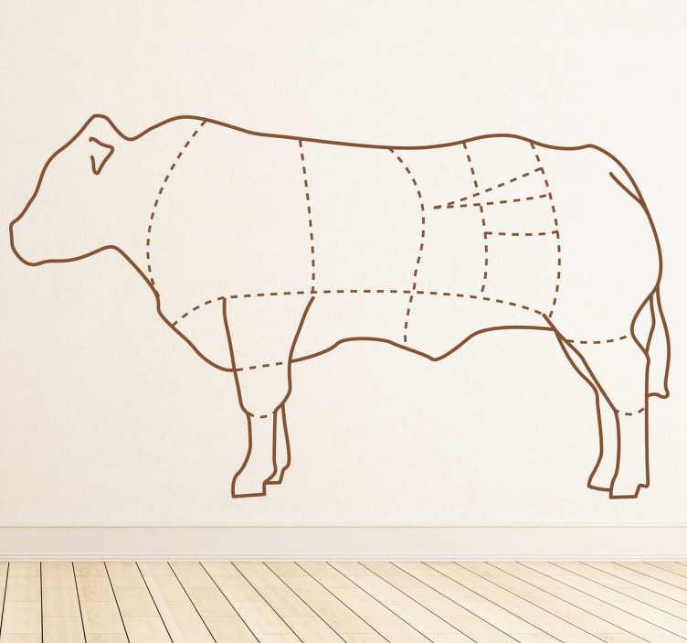 TenStickers. Sticker koe delen. Deze sticker onderscheidt de verschillende delen van een koe. Verkrijgbaar in verschillende kleuren en maten. +10.000 tevreden klanten.