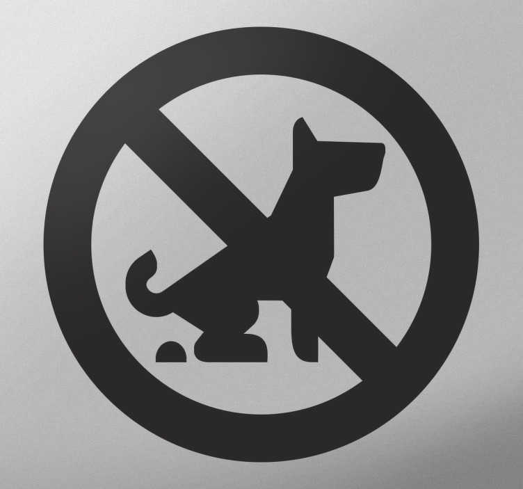 TenStickers. Vinis decorativos de sinalética variada Cão proibição cocô. Deixe sua mensagem inequivocamente clara para todos os proprietários de cães, para que eles cuidem sozinhos dos cães.