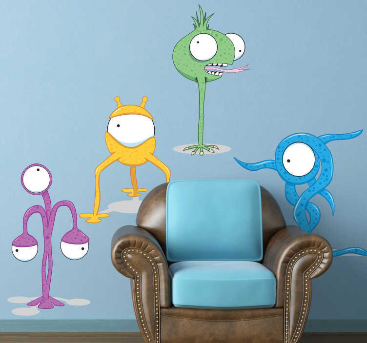 TenStickers. Four Different Aliens Kids Stickers. Decorate your child's room with this wall sticker of four funny, odd-shaped monsters in different colors.