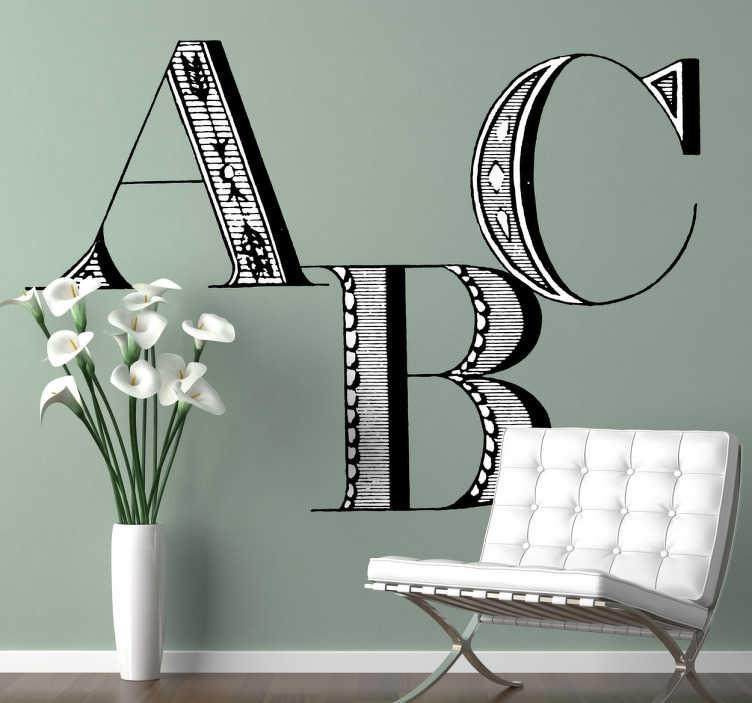 TenStickers. ABC Wall Sticker. If you love text wall stickers and you are looking for a stylish design to decorate your home or waiting room then this is perfect for you.