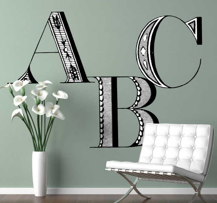 TenStickers. Sticker mural abc classique. Stickers mural représentant les premières lettres de l'alphabet avec une typographie de style ancien.Personnalisez et adaptez le stickers à votre surface en sélectionnant les dimensions de votre choix.