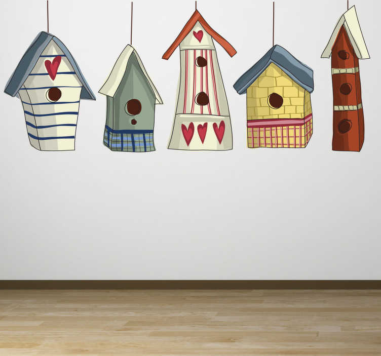 TenStickers. Bird Houses Wall Sticker. Kids wall sticker illustrating five colourful bird houses. Superb sticker for decorating your walls and bringing some colour to your home decor. Hanging wooden bird cages with love hearts on to brighten up your life.