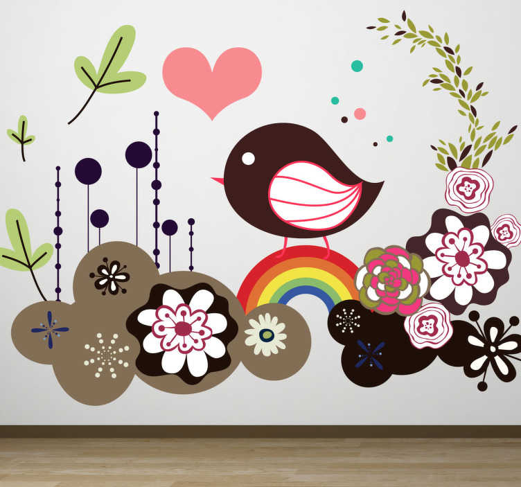 TenStickers. Psychedelic Bird Wall Sticker. Kids Wall Stickers - Colourful illustration of a sparrow bird surrounded by flowers and hearts. Distinctive feature available in various sizes.