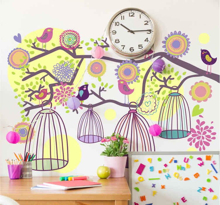 TenStickers. Decorative Bird Cage Decal. Bird wall decals - A decorative and colourful wall sticker of different bird cages hanging from a branch with birds and flowers .