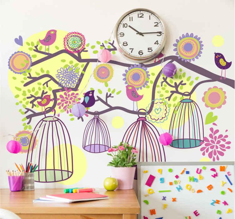 TenStickers. Sticker vogelkooi kinderen. Een fantastische muursticker van allerlei vogelkooitjes in een boom. Een prachtige wandsticker voor kinderen die van vogels houden.