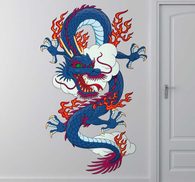 Tenstickers. Kinesisk drake vägg klistermärke. Fantastisk kinesisk drake väggklistermärke inspirerad av klassiska asiatiska konstverk, från vår samling av orientaliska väggdekaler fantastisk design av en eldig blå och röd drake i molnen som är perfekt för att personifiera något sovrum eller ungers rum.