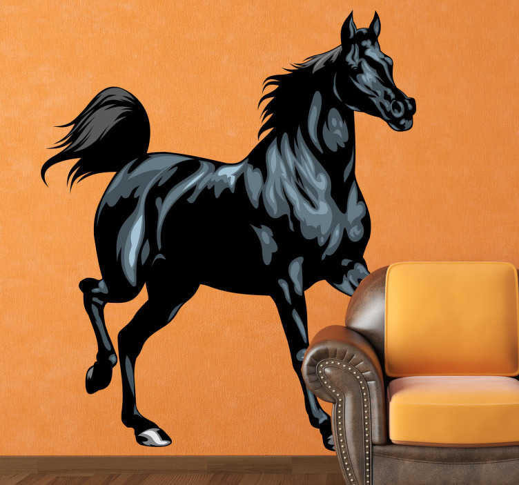 TenStickers. Wandtattoo Schwarzer Hengst. Wenn Sie ein Pferde Liebhaber sind, dann ist dieser elegante schwarze Hengst als Wandtattoo die ideale Wandgestaltung für Sie.