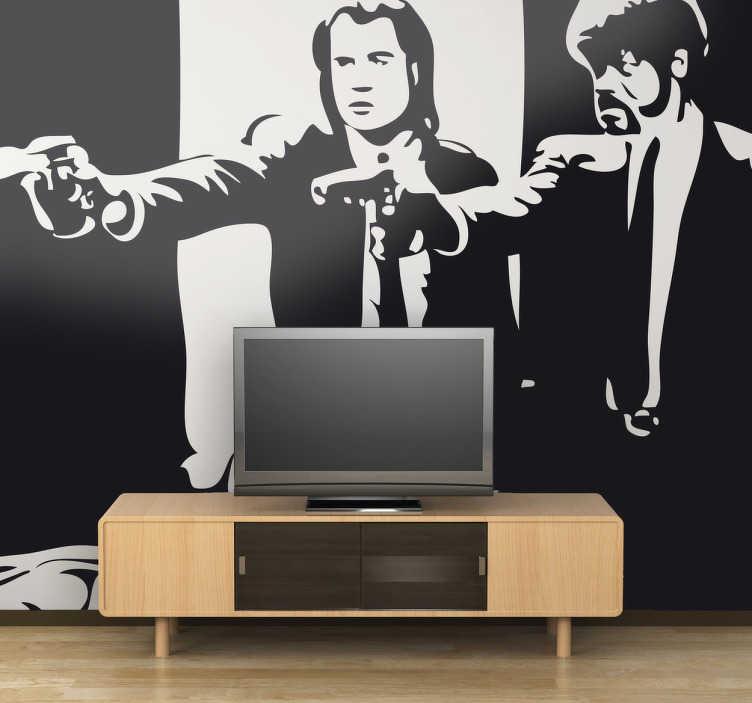 TenVinilo. Vinilo decorativo escena Pulp Fiction. Espectacular adhesivo de John Travolta y Samuel L. Jackson en los papeles interpretados en el film de Quentin Tarantino.