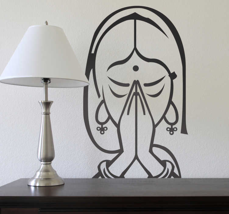 TenStickers. Meditating Decorative Sticker. A decorative sticker of a woman meditating. A wall decal inspired in the Asian culture.