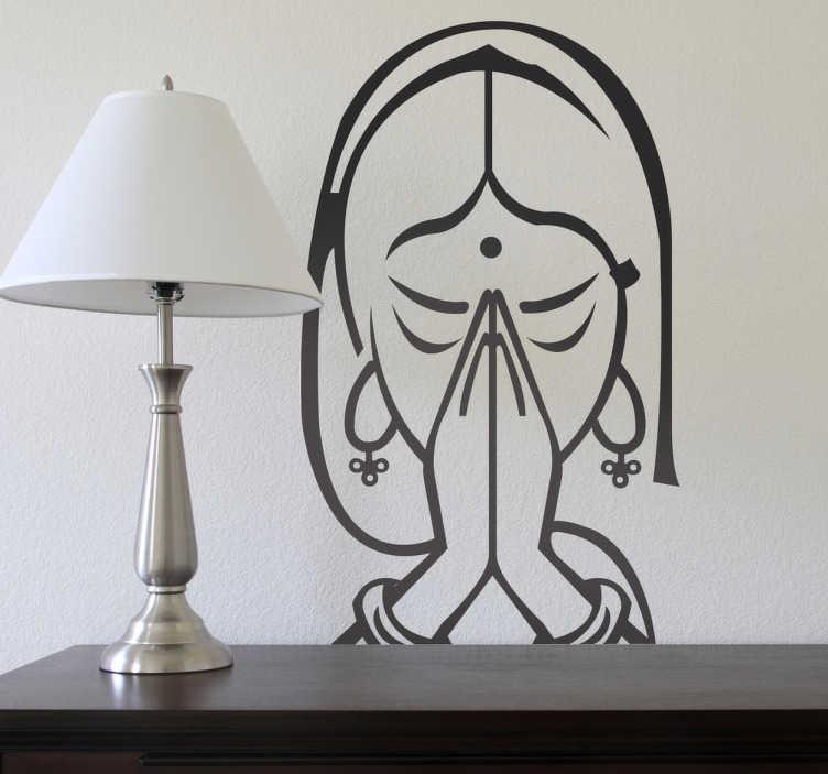 TenStickers. Muursticker Silhouet Mediteren. Deze muursticker omtrent een Aziatische dame die mediteert. Ideaal om een rustige sfeer in uw woning te creëren.