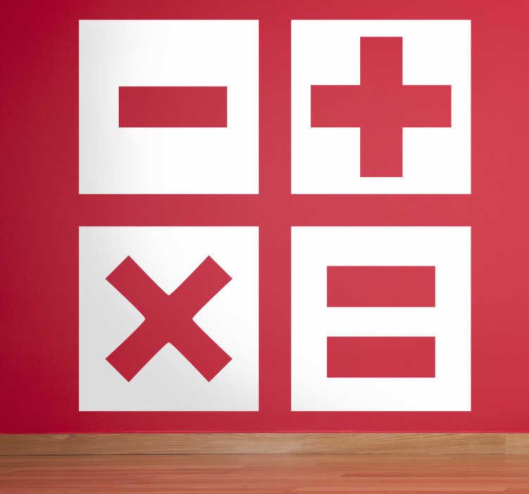TenStickers. Sticker decorativo icona calcolatrice. Adesivo murale che raffigura quattro simboli chiave presenti sulla tastiera di qualsiasi calcolatrice.