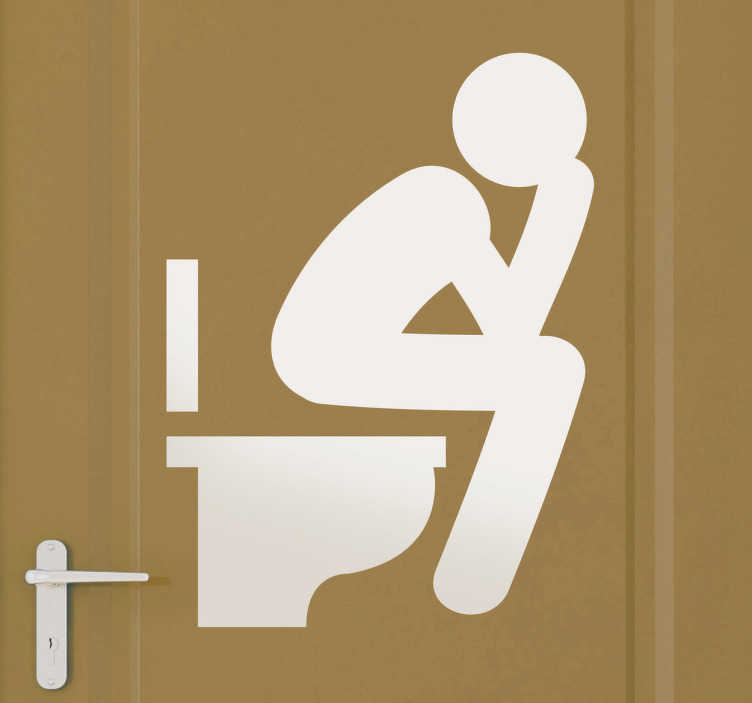 "TenStickers. Toilet Icon Sticker. A door sticker illustrating a toilet sign by referring to The Thinker (French ""Le Penseur de Rodin""), an original and realistic sticker for your home or business, part of our bathroom stickers collection."