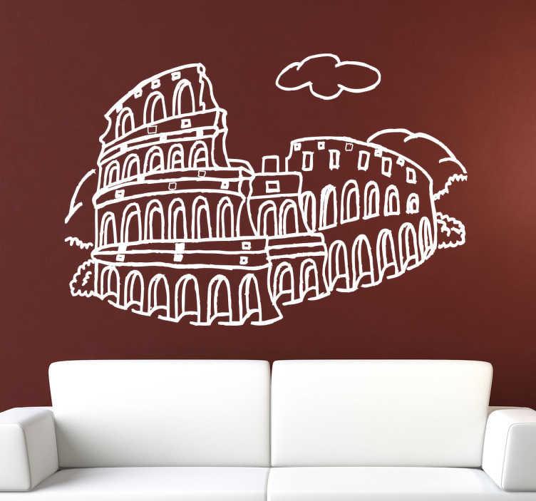 TenStickers. Vinil decorativo Coliseu de Roma. Vinil decorativo da cidade de Roma. Adesivo de parede com a ilustração das ruínas do coliseu romano. Autocolante para decoração de interiores.