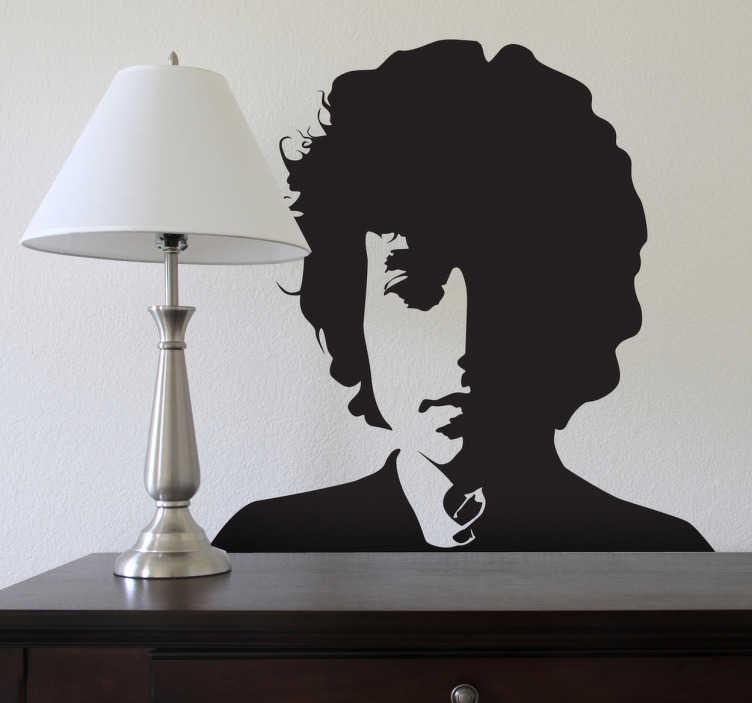 TenStickers. Naklejka dekoracyjna Bob Dylan. naklejka na ścianę retro z postacia boba dylana. Naklejka na ścianę z muzycznym motywem. Aranżacja wnętrz z bobem dylanem. Pisarz muzyki. wystrój wnętrz.