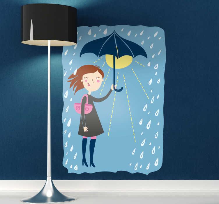 TenStickers. Autocollant enfant soleil sous parapluie. Adhésif original pour enfant illustrant une jeune femme qui profite de la présence du soleil sous son parapluie malgré la pluie.Super idée déco pour la chambre d'enfant et ou la personnalisation d'effets personnels.