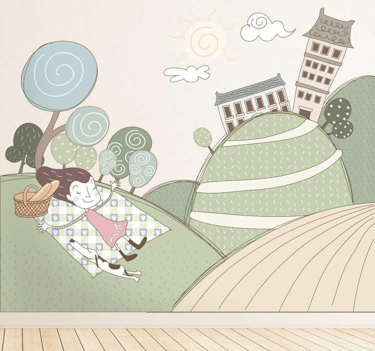 TenStickers. Naklejka popołudnie w parku. Pozytywna naklejka na ścianę przedstawiająca dziewczynkę z psem w trakcie wypoczywania na łonie natury. Obrazek dostępny jest w różnych rozmiarach.