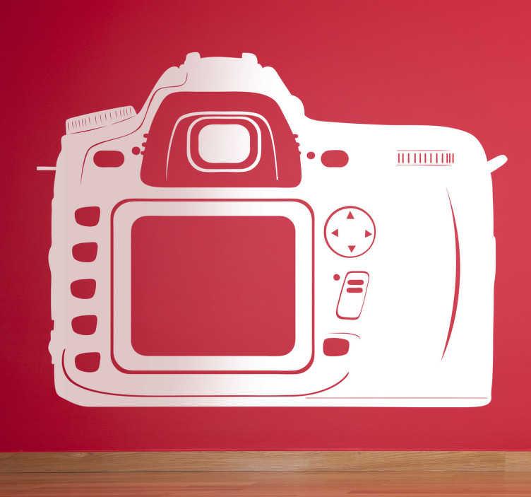 TenStickers. Sticker appareil photo vue arrière. Adhésif mural illustrant un appareil photo numérique professionnel.Utilisez ce stickers pour décorer votre bureau ou magasin.