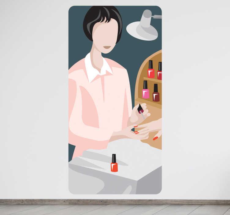 TenStickers. Sticker femme soin manucure. Adhésif mural représentant une femme réalisant une manucure.Illustration faisant référence à l'univers du bien-être.