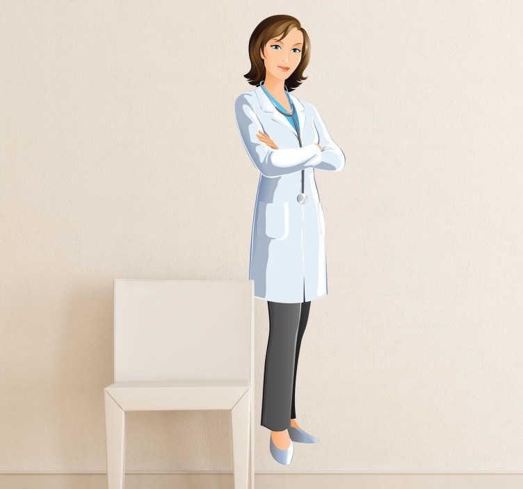 TenVinilo. Adhesivo doctora cuerpo entero. Ilustración detallada en vinilo de una mujer médico dispuesta a pasar consulta.