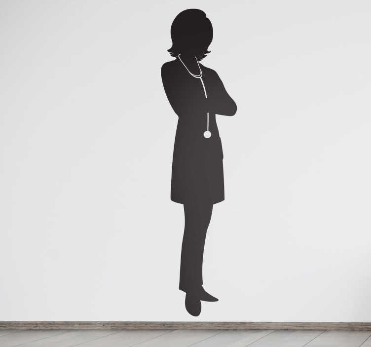 TenStickers. Female Doctor Silhouette Wall Sticker. Wall Stickers - Silhouette illustration of a female doctor prepared for a day at the hospital. Available in various sizes. Long lasting decals.