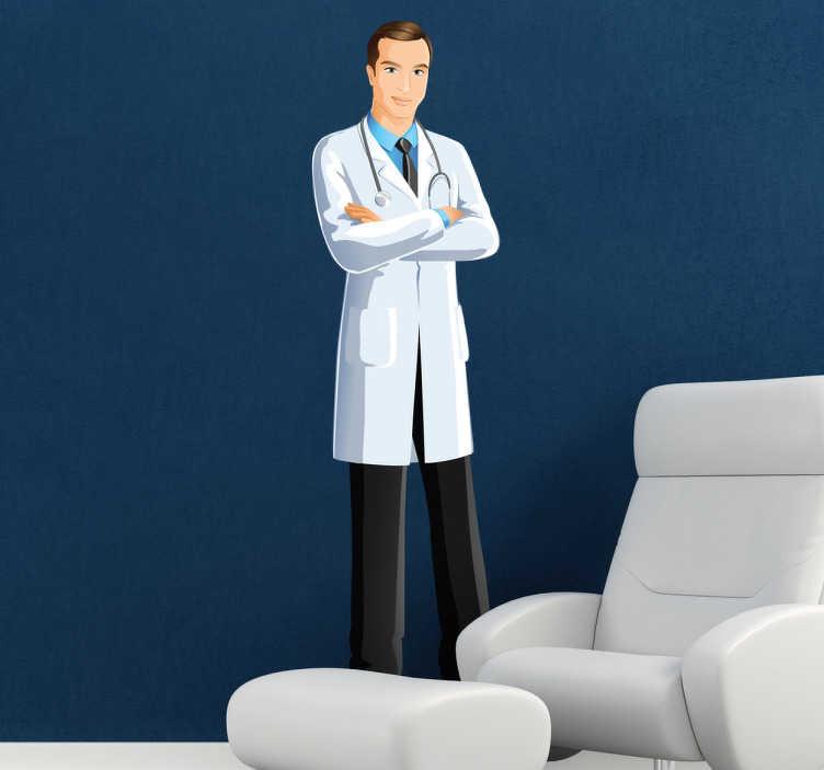 TenStickers. Wandtattoo kompetenter Arzt. Dekorieren Sie Ihre Räume mit diesem Wandtattoo eines motivierten Doktors, der einen zuverlässigen und beruhigenden Eindruck macht.