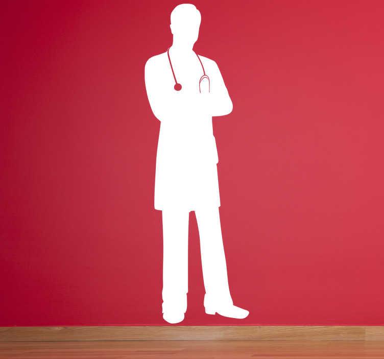 TenVinilo. Adhesivo médico silueta. Original vinilo con el perfil completo de un joven doctor armado con su estetoscopio para pasarnos consulta.