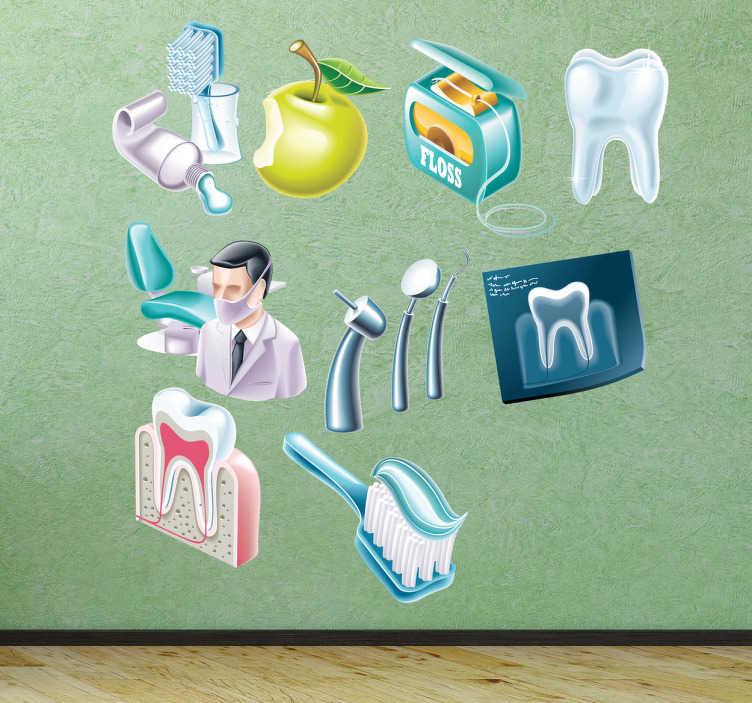 TenStickers. Naklejka dekoracyjna ikony dentystyczne. Jeśli jesteś miłośnikiem dentysty, mamy coś dla Ciebie! Urocze obrazki, które symbolizują troskę o zęby.