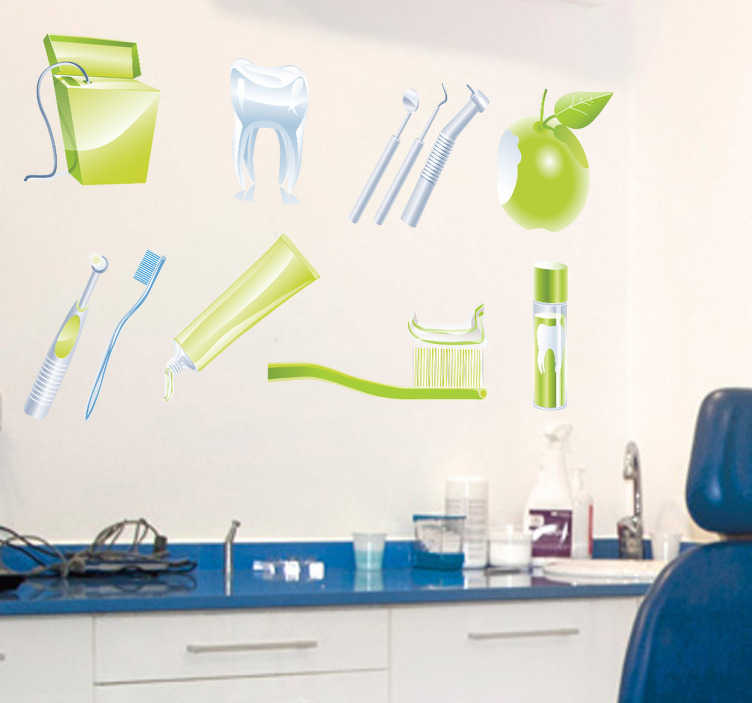 Sticker outils verts dentiste