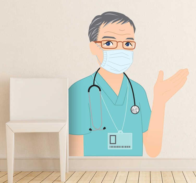 TenStickers. Sticker blouse chirurgien. Adhésif mural représentant le portrait d'un chirurgien.Illustration faisant référence à l'univers de la santé.Utilisez ce stickers pour décorer votre cabinet de consultations ou la salle d'attente.