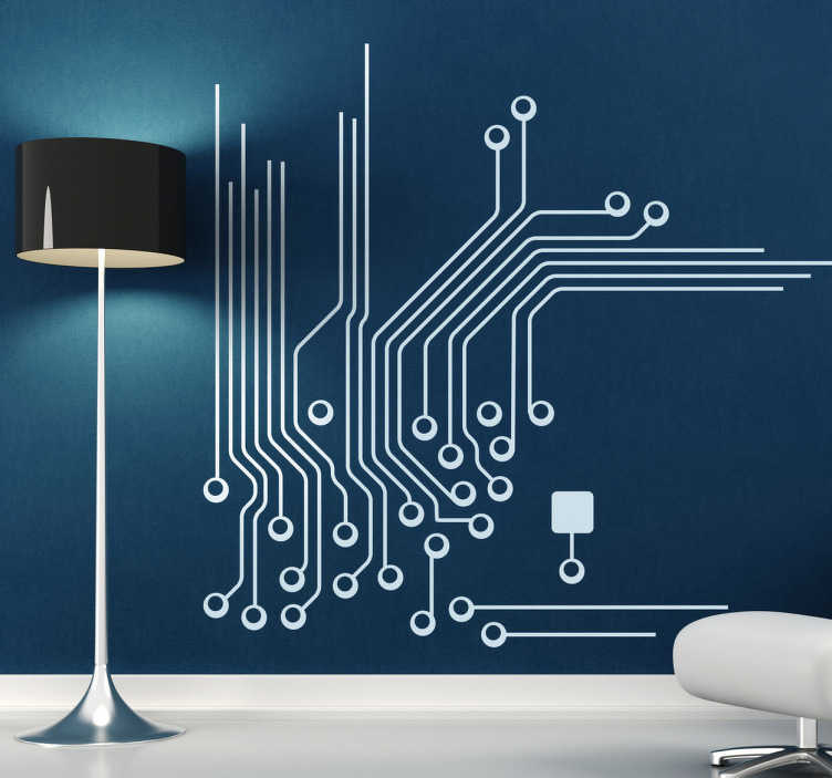 TenStickers. Electronic Plate Connections Wall Sticker. Wall Stickers - Micro electronic circuit board illustration. Available in various sizes and in 50 colours. Long lasting decals.