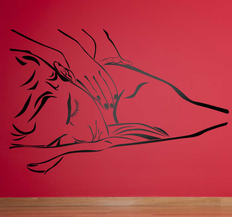TenStickers. Sticker decorativo illustrazione massaggio. Adesivo decorativo che raffigura una persona distesa che riceve un massaggio.