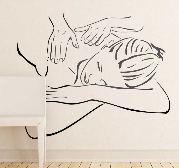 TenStickers. Massage Shop Sticker. A company sticker showing a massage session. Health and living wall sticker of a woman receiving a massage from a professional, perfect for creating a relaxing atmosphere in your salon or spa.