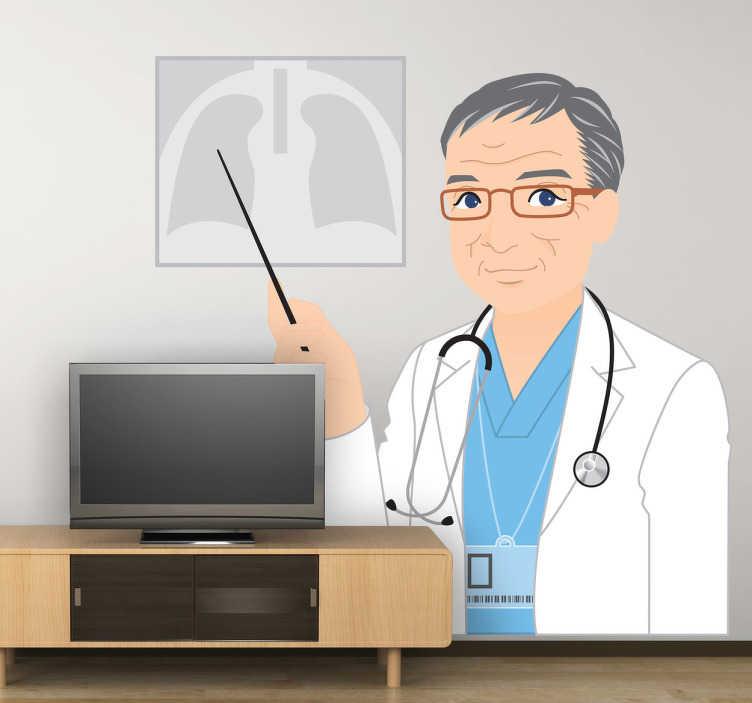TenStickers. Naklejka dekoracyjna doktor ze zdjęciem rtg. Naklejka dekoracyjna, która przedstawia doktora ze zdjęciem rentgenowskim na ścianie.