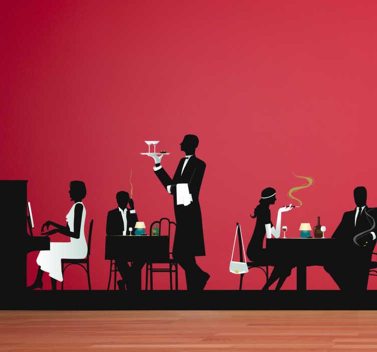 TenStickers. Sticker vintage restaurant piano ober. Een prachtige muursticker met hierop de voorstelling van een klassiek restaurant.  Een leuk idee voor het decoreren van je restaurant of eetkamer!