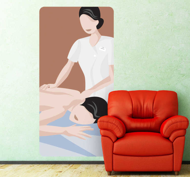 TenStickers. Massage Mural Wall Mural. Wall Stickers - Illustration of a masseuse giving a massage to a client. Long lasting decals. Ideal for spas, health and beauty businesses.