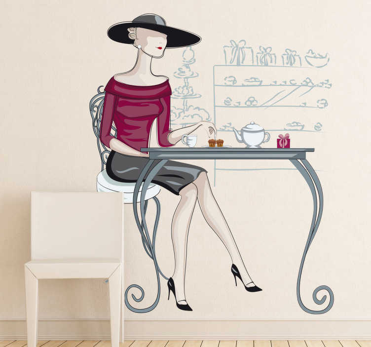 TenStickers. Women at cafe sticker. A wall sticker of an elegant women with a large hat sat at a table to have some tea.