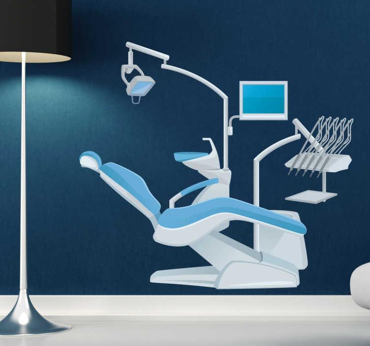TenStickers. Wandtattoo Zahnarzt Stuhl. Gestalten Sie Ihr Wartezimmer mit diesem tollen Wandtattoo, dass einen Zahnarztstuhl mit all seinen Gerätschaften zeigt.