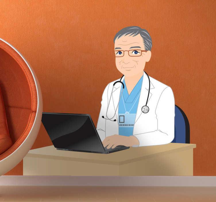 TenStickers. Naklejka dekoracyjna doktor w pracy. Naklejka dekoracyjna, która przedstawia lekarza, siedzącego przy komputerze w swoim gabinecie lekarskim.