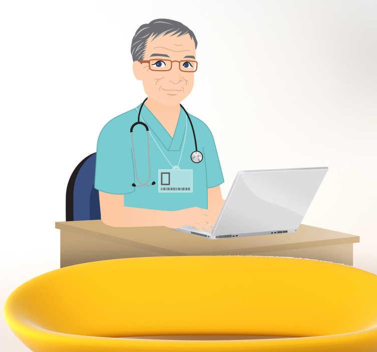 TenStickers. Naklejka dekoracyjna lekarz przy biórku. Naklejka dekoracyjna, która przedstawia starszawego doktora z siwymi włosami, któy siedzi przy komputerze w swoim gabinecie.