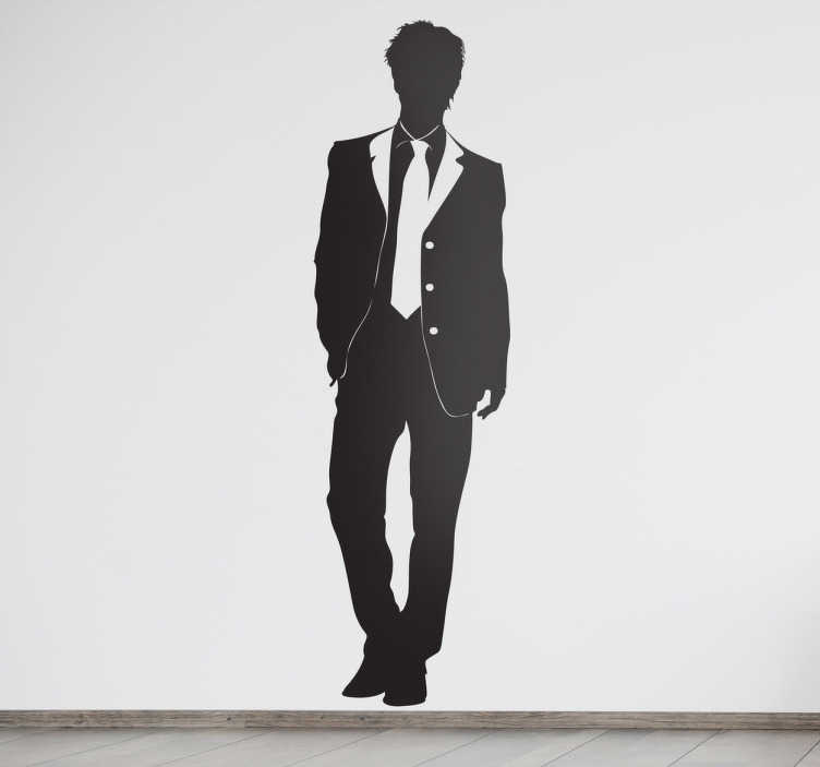 TenStickers. Guy in Suit Fashion Sticker. Elegant wall sticker of a young well dressed guy. Great silhouette wall sticker to put on your wall if you love fashion. Perfect simple wall decal for creating a mood of style and class in your bedroom, living room or more!