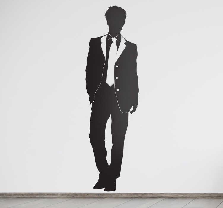 TenStickers. Sticker modebewuste jongen. Een elegante muursticker van een jonge goedgeklede man. Een leuk idee voor het opfleuren van uw muren wanneer u van mode houdt.