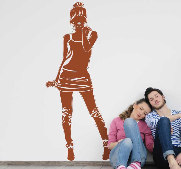 TenStickers. Sticker decorativo ragazza carina. Adesivo murale raffigurante la silhouette frontale di una giovane ragazza che posa per una foto.