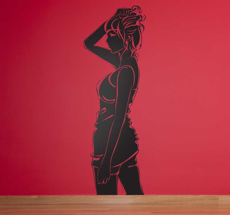 TenStickers. Sticker femme cheveux attachés. Adhésif mural représentant une femme remontant ses cheveux.Illustration faisant référence à la beauté et au bien-être.Utilisez ce stickers pour décorer votre institut de beauté.