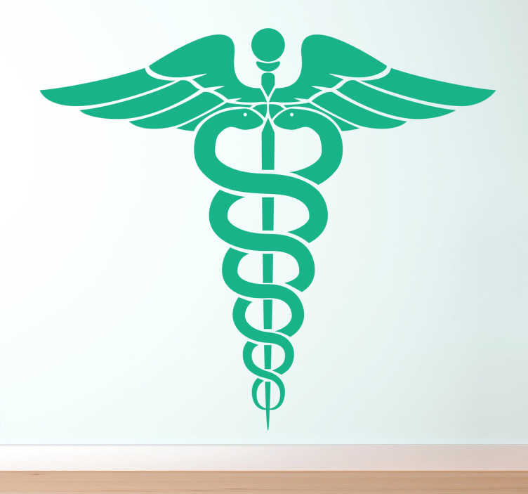 TenStickers. Caduceus Health Symbol Wall Sticker. Wall Stickers - Logo illustration inspired by Greek mythology. A hort staff entwined by two serpents, sometimes surmounted by wings.