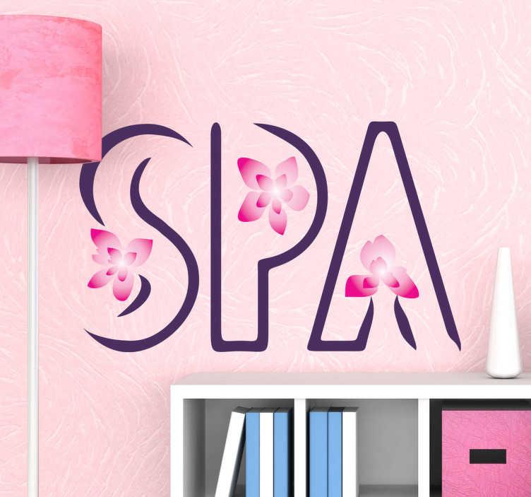 """TenStickers. Vinil decorativo flor jasmin spa. Vinil decorativo com a palavra SPA- """"salus per aquam"""", e com flores de jasmin a decorar a palavra. Adesivo de parede ideal para negócios de estética."""