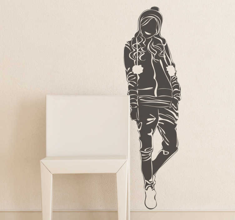TenStickers. Casual Teenage Model Wall Sticker. Wall Stickers - Original silhouette outline of a young female dressed in casual wear with long hair.