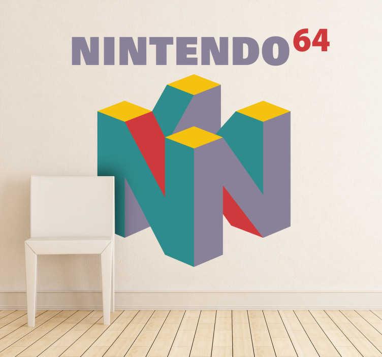TenStickers. Nintendo 64 Logo Aufkleber. Das Logo der bekannten Videospielkonsole aus den 90er Jahren als Wandtattoo. Damit wird Ihre Wand zu einem Hingucker!