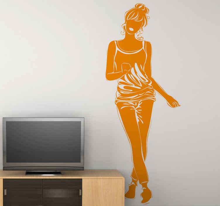 TenStickers. Casual Model Girl Wall Sticker. Wall Stickers - Original silhouette outline of a young female dressed in casual wear with her hair up.