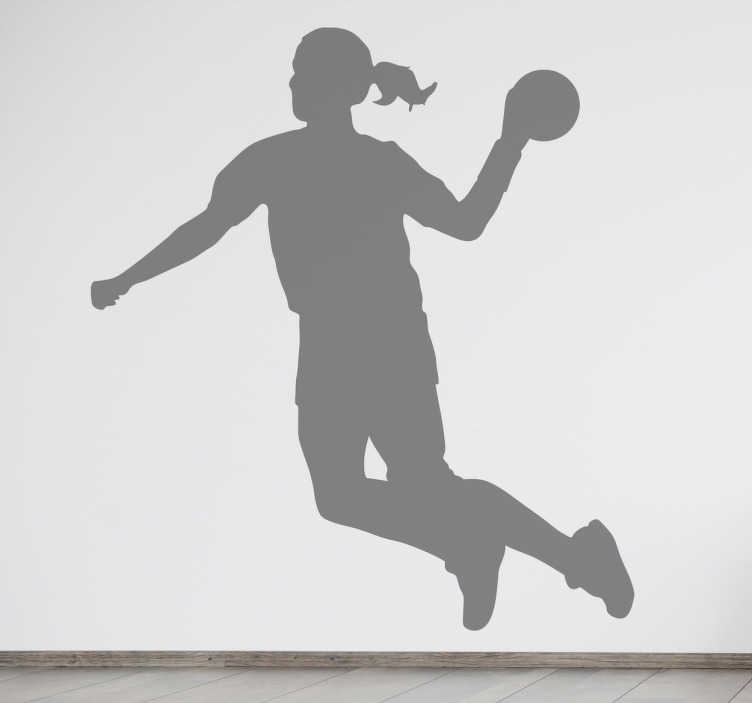 TENSTICKERS. ハンドボールプレーヤーシルエットデカール. このウォールステッカーは、このスポーツのすべてのファンのために特に作られた魅力的なデザインを示しています。