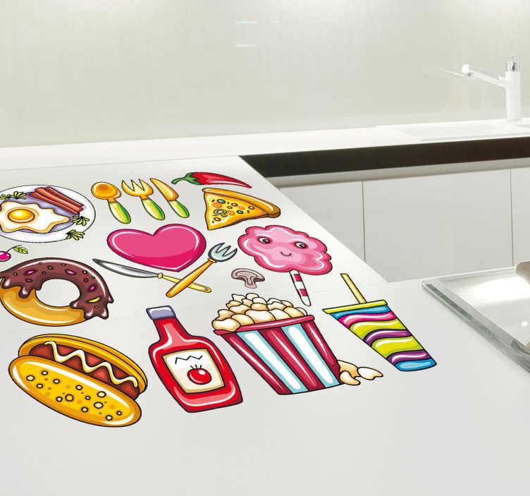 TenStickers. Vinil decorativo comida variada. Coleção de vinil decorativo com pratos diferentes (ovos fritos, donuts, hot dog, pipocas, hamburgueria, pizza). Autocolante estilo adesivo de parede.